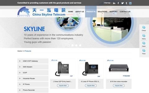 Screenshot of Products Page chinaskyline.net - GSM VOIP Gateway, Industrial Router, Industrial Routers - captured Oct. 18, 2018