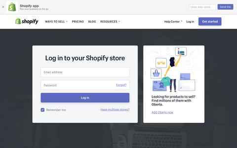 Screenshot of Login Page shopify.com - Login — Shopify - captured March 29, 2018