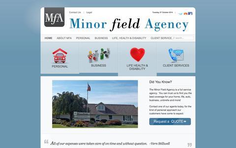 Screenshot of Home Page minorfield.com - Minor Field Agency - captured Oct. 7, 2014