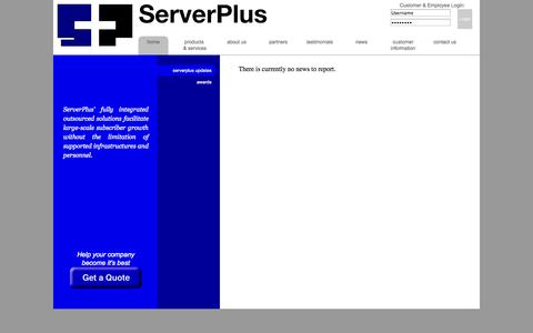 Screenshot of Press Page serverplus.com - Serverplus - News - captured Oct. 26, 2014