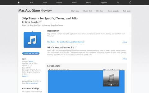 Screenshot of iOS App Page apple.com - Skip Tunes - for Spotify, iTunes, and Rdio on the Mac App Store - captured Nov. 11, 2015