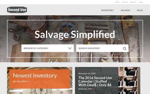 Screenshot of Home Page seconduse.com - Second Use - captured Dec. 6, 2015