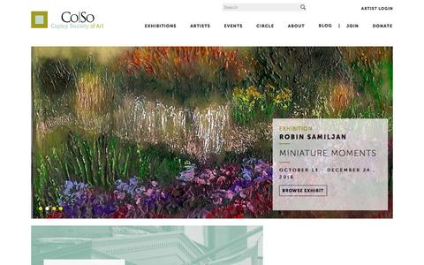 Screenshot of Home Page copleysociety.org - [ Co So ] Copley Society of Art - captured Nov. 12, 2016