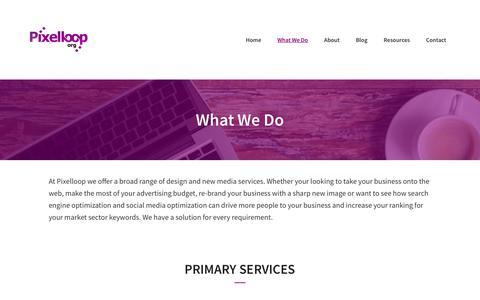 Screenshot of Services Page pixelloop.org - Pixelloop Services: Web Design, Wordpress, Inbound Marketing - captured July 19, 2018