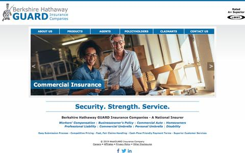 Screenshot of Home Page guard.com - Berkshire Hathaway GUARD Insurance - Workers Comp, Homeowners, Business Insurance - captured July 12, 2019