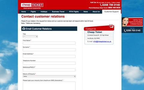 Screenshot of Support Page cheapticket.co.uk - Contact Cheapticket.co.uk for your Travel Needs - captured Nov. 3, 2014