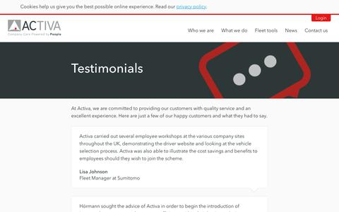 Screenshot of Testimonials Page activacontracts.co.uk - Accident management | Activa Contracts - captured July 29, 2018