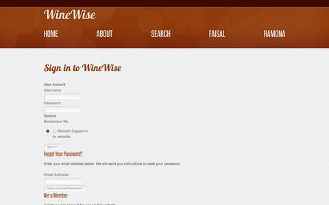 Screenshot of Login Page winewise.com - WineWise :: Login - captured Oct. 9, 2014