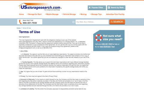 Screenshot of Terms Page usstoragesearch.com - Term Of Use - USstoragesearch - captured Oct. 1, 2017