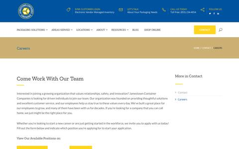 Screenshot of Jobs Page jamestowncontainer.com - Careers - Corrugated Packaging Solutions - captured Oct. 13, 2018