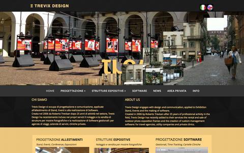 Screenshot of Home Page trevix.it - Progettazione allestimenti, strutture espositive e software. - captured Oct. 7, 2014