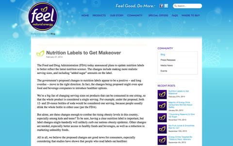 Screenshot of Blog feelenergy.com - Blog | FEEL™ - Natural Energy DrinkFEEL™ – Natural Energy Drink - captured Oct. 7, 2014