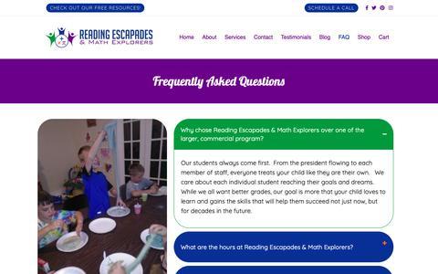 Screenshot of FAQ Page read2day.com - FAQ   Reading Escapades & Math Explorers - captured Oct. 18, 2018