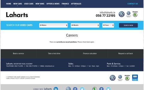 Screenshot of Jobs Page laharts.ie - Careers at Lahart Garages Kilkenny - captured Jan. 24, 2016