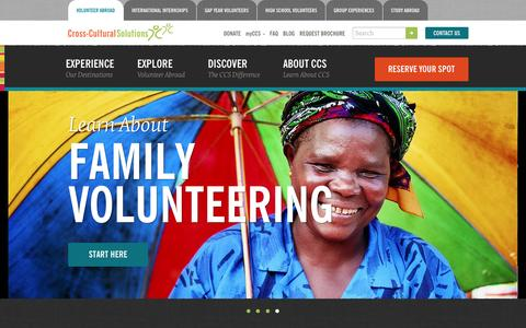 Screenshot of Home Page crossculturalsolutions.org - Volunteer Abroad with Cross-Cultural Solutions - captured July 17, 2016