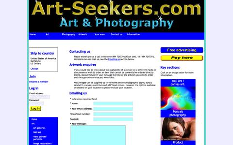 Screenshot of Contact Page art-seekers.com - Contact Art-Seekers - captured Feb. 6, 2016