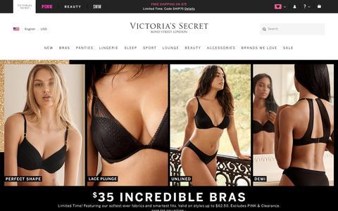 Screenshot of Home Page victoriassecret.com - Victoria's Secret: The Sexiest Bras, Panties, Lingerie, Sportswear & Beauty - captured Oct. 16, 2019