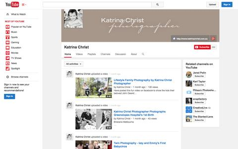 Screenshot of YouTube Page youtube.com - Katrina Christ  - YouTube - captured Oct. 22, 2014