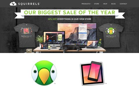 Screenshot of Home Page airsquirrels.com - Squirrels - Apps to go nuts for. Creators of AirParrot, Reflector and Slingshot. - captured Dec. 1, 2015