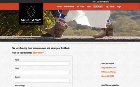 Screenshot of Contact Page sockfancy.com - Contact SockFancy - captured Oct. 9, 2014