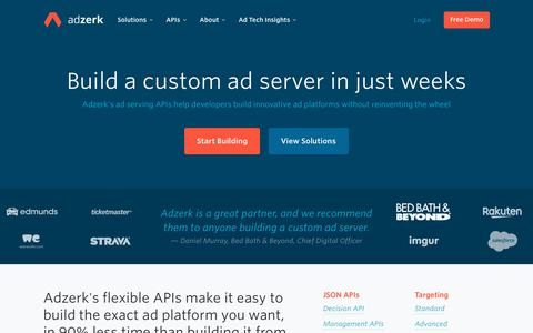 Screenshot of Home Page adzerk.com - Build an Ad Server in Weeks | Adzerk - captured July 14, 2019