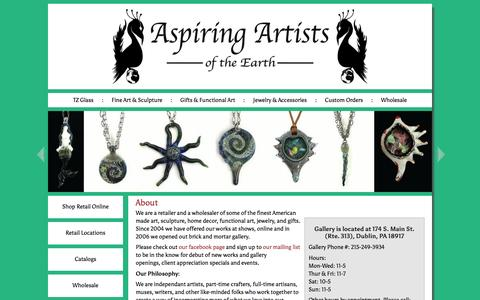 Screenshot of About Page aaote.com - Aspiring Artists of the Earth - captured Feb. 6, 2016