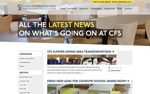 Screenshot of Press Page cfspec.com - Contract Furniture Specialists News from the experts in school dining room makeovers - captured Sept. 29, 2018