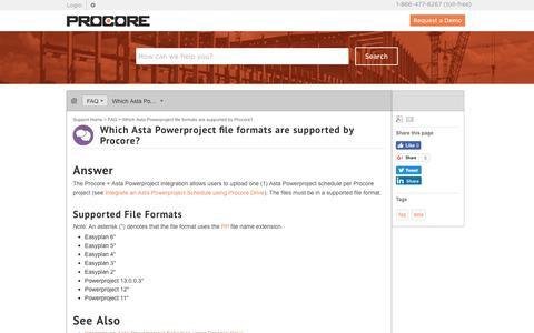 Which Asta Powerproject file formats are supported by Procore? - Procore