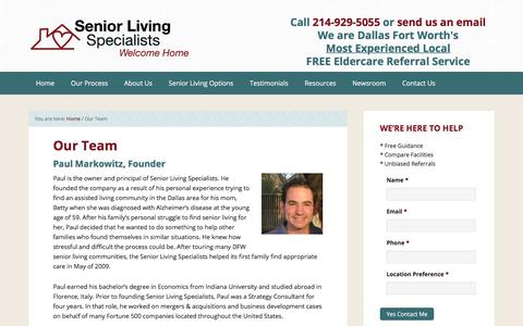Screenshot of Team Page seniorlivingspecialists.com - Senior Living Specialists, Assisted Living Team, Dallas Ft Worth - captured Nov. 12, 2017