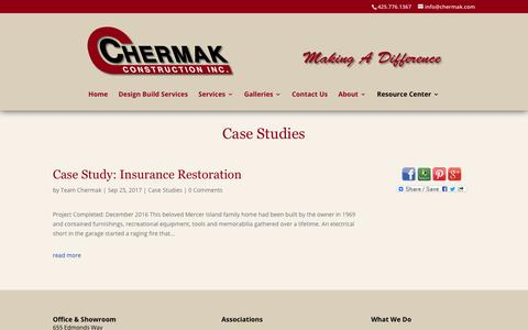 Screenshot of Case Studies Page chermak.com - Case Studies Blog | Seattle & Shoreline | Chermak Construction, Inc. - captured Sept. 27, 2018