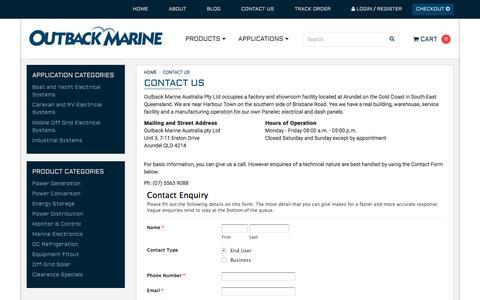 Screenshot of Contact Page outbackmarine.com.au - Contact Us - captured Dec. 19, 2016