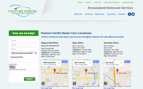 Screenshot of Contact Page Locations Page ventureforthe.com - Venture Forthe Home Care Locations - captured Oct. 25, 2014