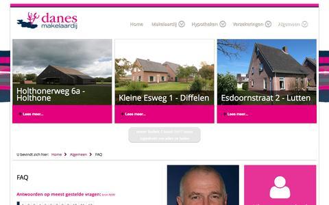 Screenshot of FAQ Page danesmakelaardij.nl - FAQ - captured July 31, 2016