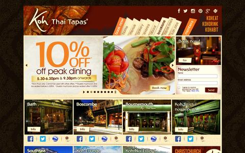 Screenshot of Contact Page Locations Page koh-thai.co.uk - Locations of Koh Thai Tapas Restaurants in Bath, Boscombe, Bournemouth and Southsea | Award Winning Restaurant in South | Koh Thai Tapas takeaway | Thai Tapas Restaurant | Thai Tapas food | Thai Tapas Bar - captured Oct. 23, 2014