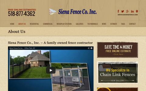 Screenshot of About Page sienafence.com - Fencing Contractor | Residential & Commercial Fencing New York - captured Oct. 9, 2014