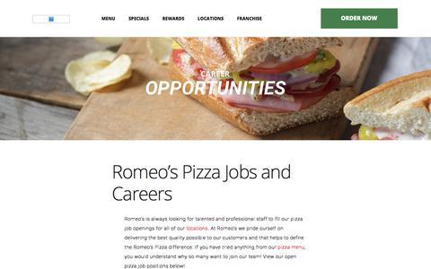 Screenshot of Jobs Page romeospizza.com - Pizza Jobs - Pizza Delivery Jobs Nearby | Romeo's Pizza - captured Sept. 21, 2018