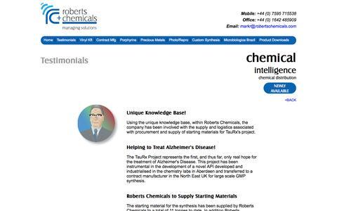 Screenshot of Testimonials Page robertschemicals.com - Testimonials | Roberts Chemicals - captured Nov. 3, 2014