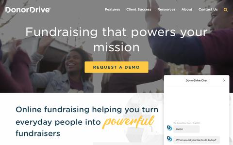 Screenshot of Home Page donordrive.com - Fundraising that powers your mission - DonorDrive - captured July 11, 2019