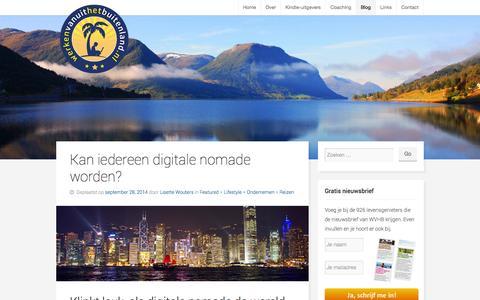 Screenshot of Blog werkenvanuithetbuitenland.nl - Blog: artikelen en interviews met digitale nomaden | WVHB - captured Oct. 26, 2014