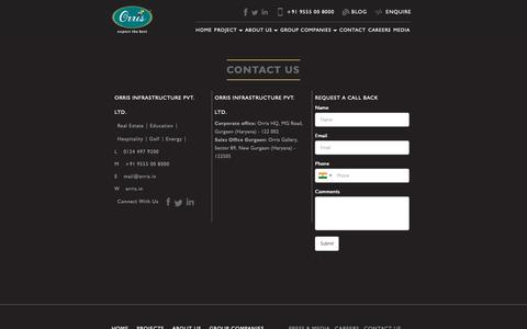 Screenshot of Contact Page orris.in - Contact us    Orris Group- Builder in Gurgaon - captured Nov. 16, 2018