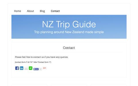 Screenshot of Contact Page nztripguide.com - NZ Trip Guide - Contact - captured Sept. 30, 2014