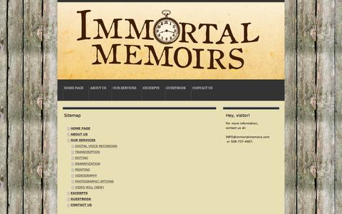 Screenshot of Site Map Page immortalmemoirs.com - Sitemap - immortalmemoirss jimdo page! - captured June 7, 2017