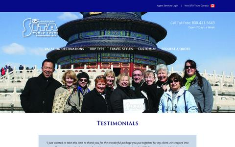 Screenshot of Testimonials Page sitatours.com - Testimonials – SITA World Tours - captured Nov. 16, 2019