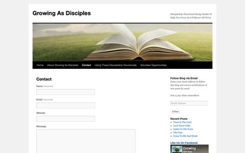 Screenshot of Contact Page growingasdisciples.com - Contact - Growing As Disciples - Discipleship Devotional Study GuidesGrowing As Disciples - captured Nov. 5, 2018