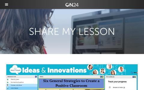 Screenshot of Case Studies Page on24.com - Case Study: Share My Lesson lifts member recruitment   ON24 - captured Oct. 12, 2017