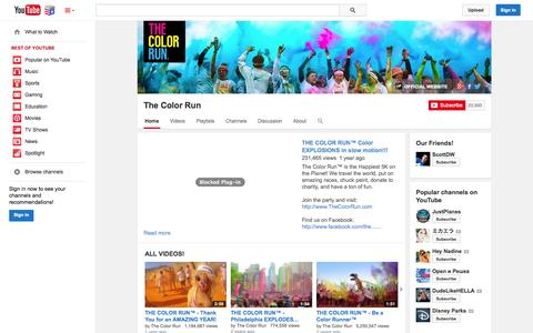 Screenshot of YouTube Page youtube.com - The Color Run  - YouTube - captured Nov. 4, 2014