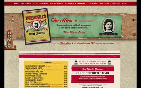 Screenshot of Menu Page threadgills.com - Menu - Threadgills - captured Oct. 9, 2014