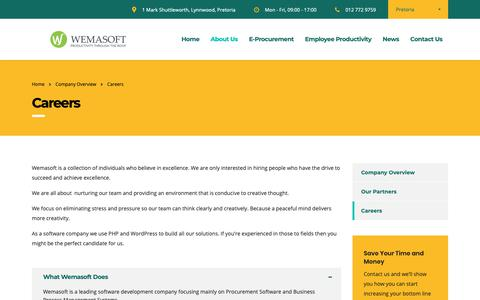 Screenshot of Jobs Page wemasoft.co.za - E-Procurement Software, Employee Productivity and HR Software - captured Oct. 19, 2018