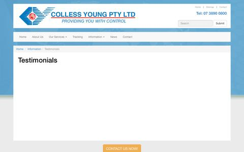 Screenshot of Testimonials Page collessyoung.com.au - Testimonials - Colless Young Pty Ltd - captured Sept. 28, 2018