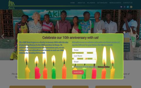 Screenshot of Home Page akilitrust.org - Akili Trust – Supporting Libraries in East Africa - captured July 29, 2018